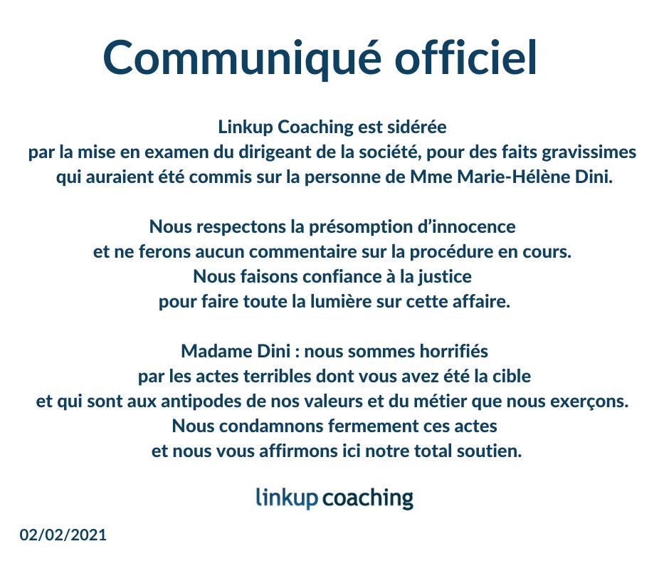 Communiqué Officiel de Linkup Coaching du 3 février 2021