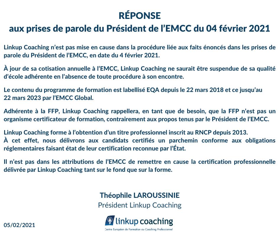 Réponse de Linkup Coaching aux prises de parole du Président de l'EMCC du 04 février 2021